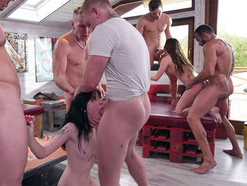 Country orgy with two girls and 5 guys with huge dicks full of cum