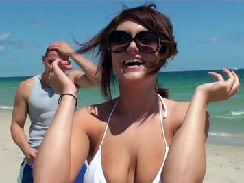 Horny girl with big natural tits in the beach fucked by her best friend