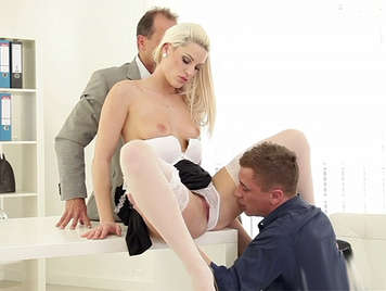 Two hard dicks to fuck to a blonde french maid