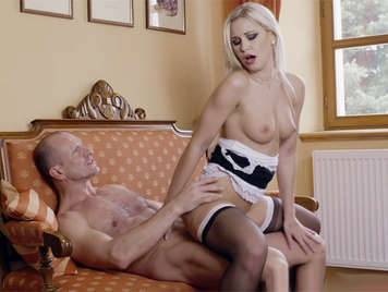 Sexy blonde maid giving pleasure to her master and lord