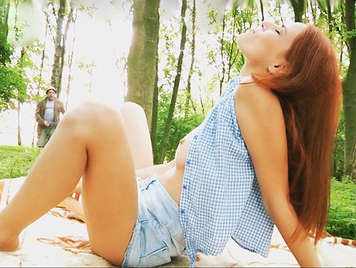Public sex with a cute redhead teen in the park