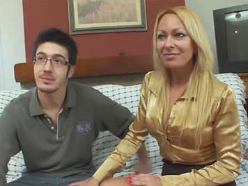 Blonde amateur horny blonde milf fucking a young guy