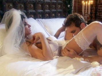 Bride in white lingerie fucked on her wedding night