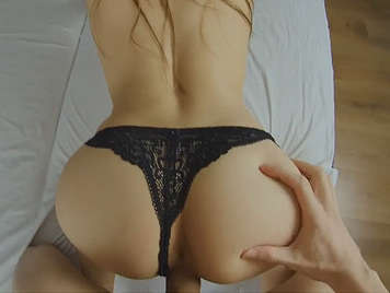 Four legs in black thong and big ass