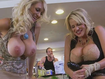 Two mature with big tits fuck the same guy