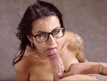 Busty spanish milf gets a cumshot over her face