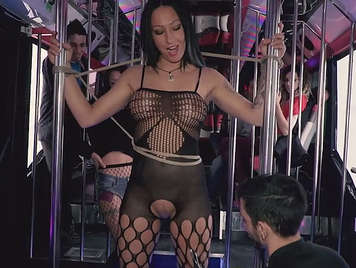 Spanish stringer tied, whipped and fucked at a bachelor party on a bus