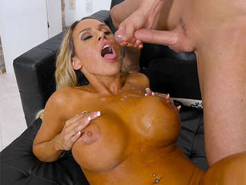 Busty blonde milf fucked and creamed in the couch