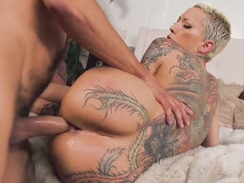 Tattooed mature anal fuck and creampie