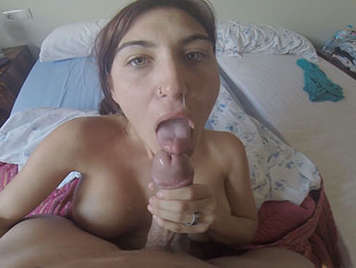 Spectacular blowjob of a busty amateur with deep throat