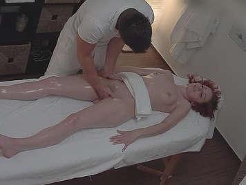 Doing a hidden camera massage and fucks her