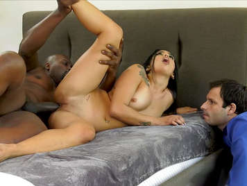 Cheating wife fucked by a black guy in front of her husband