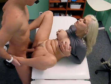 Hidden camera records a busty Italian girl fucking in the doctor's office