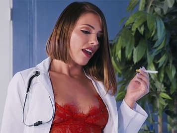 Anal sex in the hospital with a beautiful doctor in lingerie