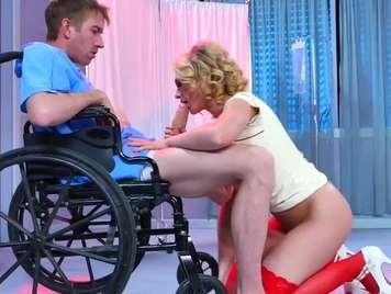 Very slutty nurse fucks wheelchair patient