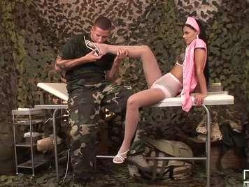 Army nurse seduces a soldier