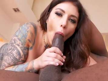 Interracial anal sex with a very hot tattooed