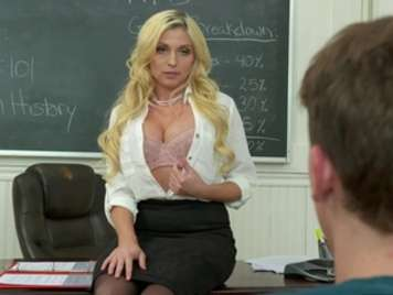 Mature teacher fucks in class with her favorite student