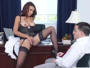 Brunette secretary wants sex with her boss in the office