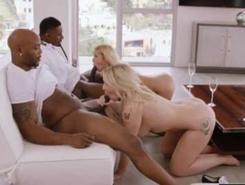 Interracial foursome with two very vicious blondes