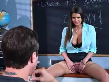 Teacher seduces her student and shows her shaved pussy