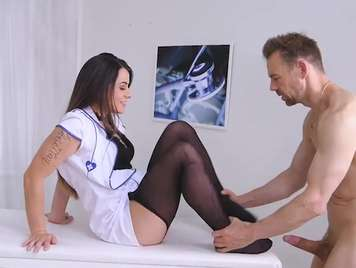 Nurse pajea a patient with his feet