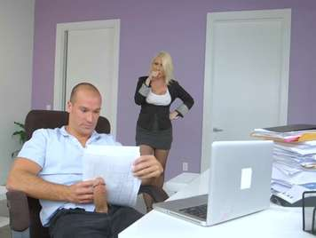 She gets caught by the boss watching porn and fucked hard
