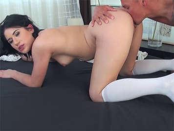 Hot, nasty girlfriend fucking his long socks
