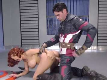 Captain America fucking with the vicious Peta Jense