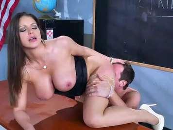 Teacher sucks her student after class