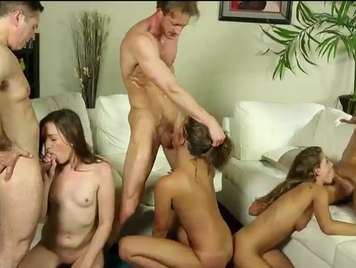 Groupsex with three beautiful girls who end up full of milk