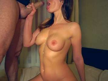 Cum between the tits of his ex girlfriend with big ass