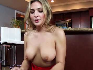 Blonde with natural tits eats a hard cock