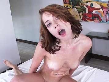 Natural redhead fucked receives facial cumshot