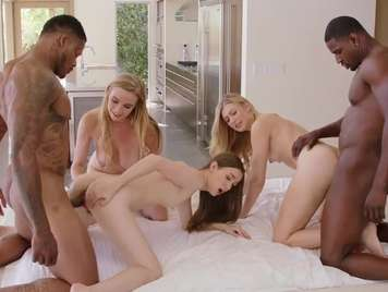 Gangbang with three beautiful girls who love black cock