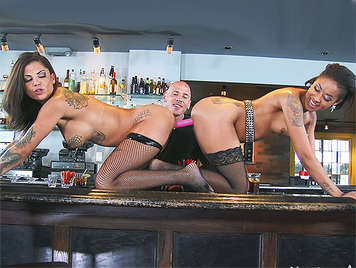 Brutal sexual threesome with two lush tattooed women who are at squirt with cock inside