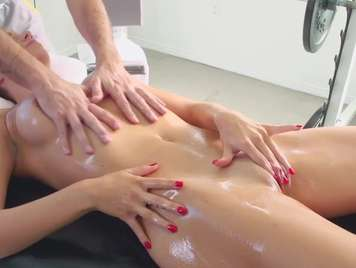 Massage a young woman with natural tits that ends in sex