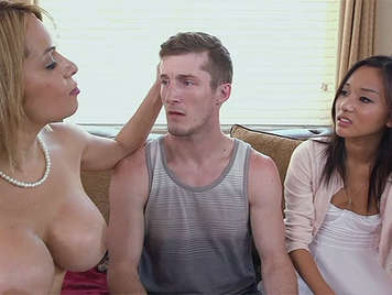 Stepmother blonde with big tits showing stepdaughter as pleasure is given to a man