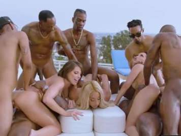 Interracial groupsex with three blonde bitches