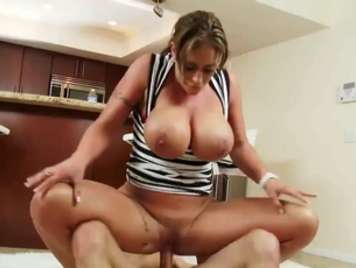 Busty mature rides a cock that filled her with milk
