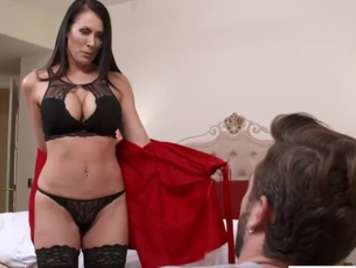 Mature with lingerie seduces her nephew and fucks him