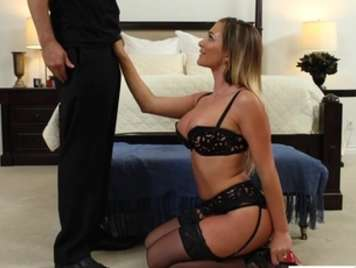 Black lingerie of powerful blonde looking hard sex