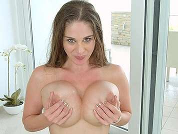 Busty lush fucked in the ass receives facial