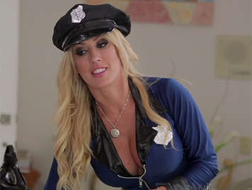 Sexy female police questioning a suspect with a huge cock