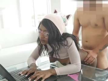 Interracial hardcore sex with a brunette pussy and facial cumshot