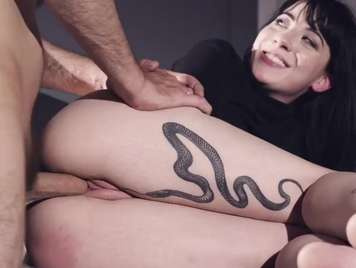 Tattooed with shaved rabbit receives vaginal creampie