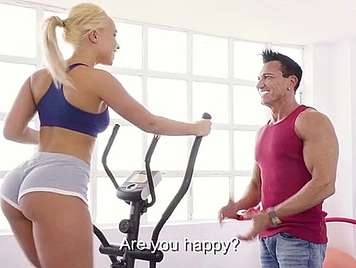 Busty blonde doing aerobics fucked by her coach