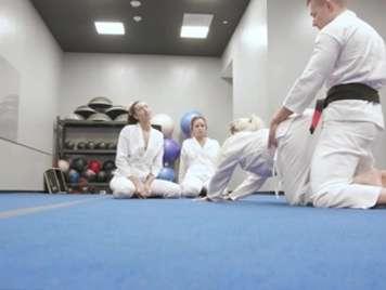 Foursome with judo teacher and facial cumshot