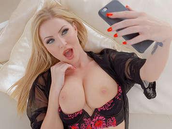 Creampie for a cute blonde busty milf in lingerie
