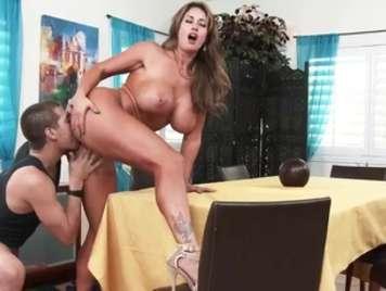 Mature with big tits receives hot milk